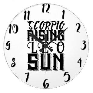 Scorpio Rising Leo Sun Astrology Horoscope Zodiac Large Clock