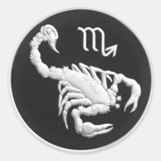 Scorpio Scorpion Scorpius Silver Russian Coin Round Sticker