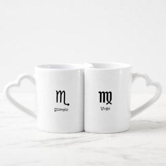 Scorpio Scorpion & Virgo Virgin Zodiacs Astrology Coffee Mug Set