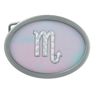 Scorpio Sign in Mother of Pearl Style Oval Belt Buckle