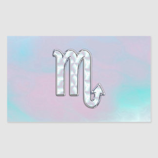 Scorpio Sign in Mother of Pearl Style Rectangular Sticker