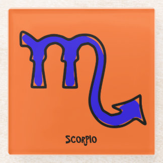 Scorpio symbol glass coaster