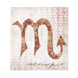 Scorpio symbol notepad