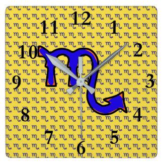 Scorpio symbol t square wall clock