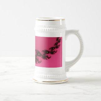 Scorpio Tail, Fractal Art - Pink Gold Black Beer Stein