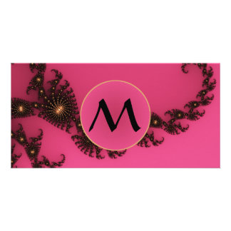 Scorpio Tail with Monogram - Pink Gold Black Card