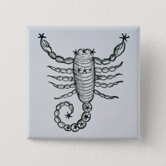 Scorpio (the Scorpion) an illustration from the 'P Pinback Button