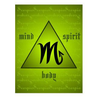 Scorpio Triangle Mind Body Spirit Holistic Green Postcard