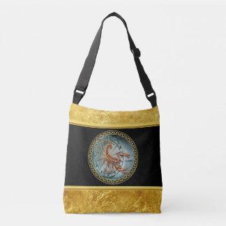 Scorpio Zodiac Astrology black gold foil design Crossbody Bag
