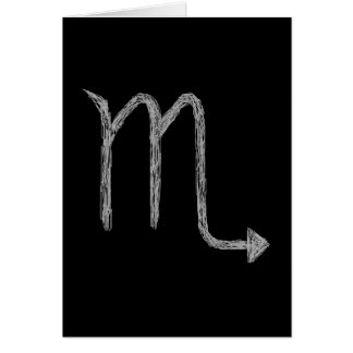 Scorpio. Zodiac Astrology Sign. Black. Card