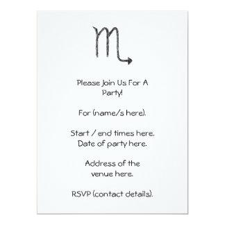 Scorpio. Zodiac Astrology Sign. Black. Card