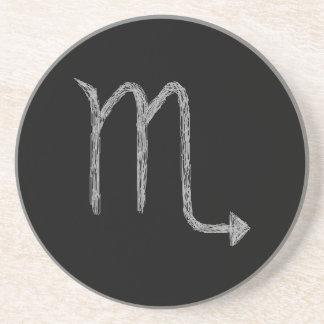 Scorpio. Zodiac Astrology Sign. Black. Drink Coaster