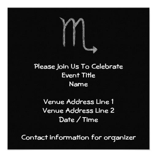 Scorpio. Zodiac Astrology Sign. Black. Personalized Invite