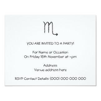 Scorpio. Zodiac Astrology Sign. Black. 4.25x5.5 Paper Invitation Card