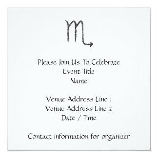 Scorpio. Zodiac Astrology Sign. Black. 5.25x5.25 Square Paper Invitation Card