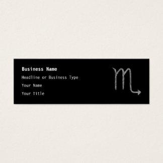 Scorpio. Zodiac Astrology Sign. Black. Mini Business Card