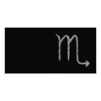 Scorpio. Zodiac Astrology Sign. Black. Picture Card
