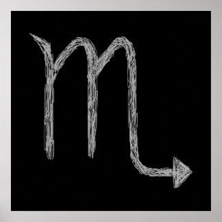 Scorpio. Zodiac Astrology Sign. Black. Poster