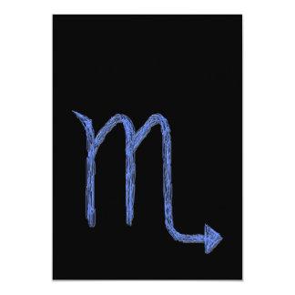 Scorpio. Zodiac Astrology Sign. Blue. 5x7 Paper Invitation Card