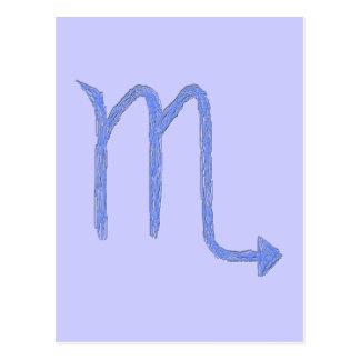 Scorpio Zodiac Astrology Sign Blue Post Card