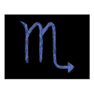 Scorpio. Zodiac Astrology Sign. Blue. Postcard