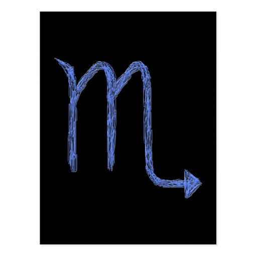 Scorpio. Zodiac Astrology Sign. Blue. Postcards