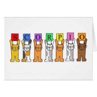 Scorpio Zodiac Birthday Cats Card