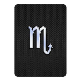 Scorpio Zodiac chrome like Sign black snake skin Card