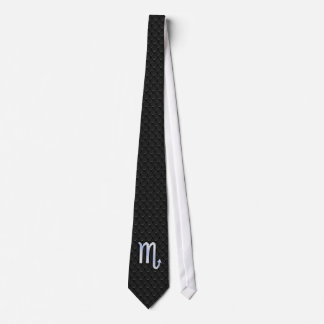 Scorpio Zodiac Chrome Like Symbol Black Snake Deco Tie