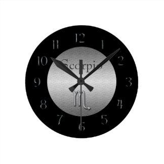 Scorpio Zodiac-Faux Brushed Silver/Black Round Clock