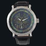 "Scorpio Zodiac Gold Abalone on Constellation Wrist Watch<br><div class=""desc"">Scorpio Zodiac Gold Abalone on Constellation</div>"