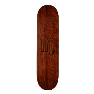 Scorpio Zodiac Sign in Mahogany Style Decor Skateboard Deck