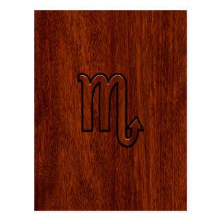 Scorpio Zodiac Sign in Mahogany Style Postcard