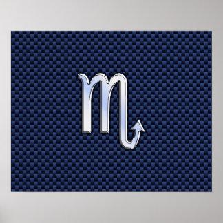 Scorpio Zodiac Sign navy blue carbon fiber print