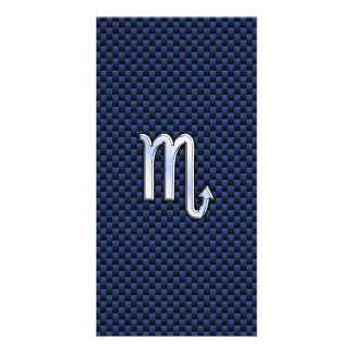 Scorpio Zodiac Sign navy blue carbon fiber print Card