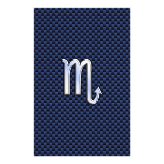 Scorpio Zodiac Sign navy blue carbon fiber print Flyer