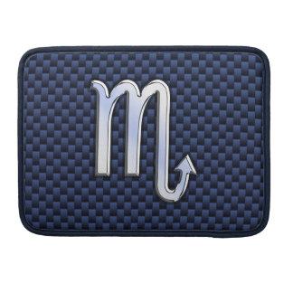 Scorpio Zodiac Sign navy blue carbon fiber print Sleeve For MacBook Pro