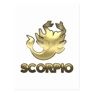 Scorpio zodiac sign - old gold edition postcard
