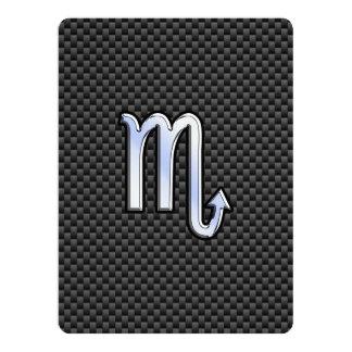 Scorpio Zodiac Sign on Carbon Fiber Print Card