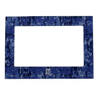 Scorpio Zodiac Sign on Navy Blue Camouflage Decor Magnetic Frame
