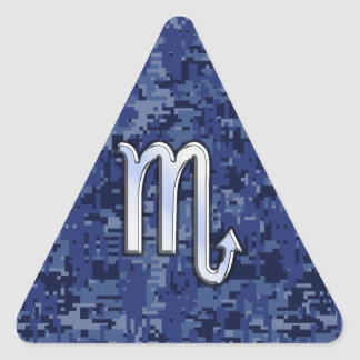 Scorpio Zodiac Sign on Navy Blue Camouflage Decor Triangle Sticker