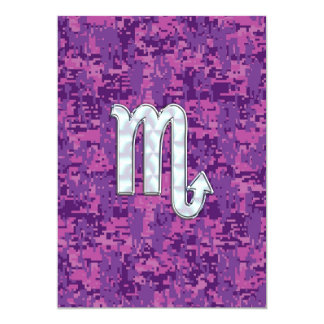 Scorpio Zodiac Sign on Pink Digital Camo Card