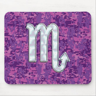 Scorpio Zodiac Sign on Pink Fuchsia Digital Camo Mouse Pad