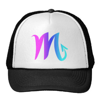 Scorpio Zodiac Sign Pink Blue Aqua Gradient Trucker Hat