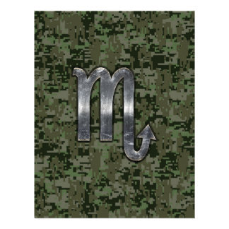 Scorpio Zodiac Sign Woodland Digital Camo Flyer