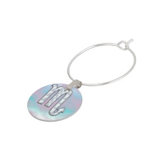 Scorpio Zodiac Symbol in Mother of Pearl Decor Wine Glass Charm