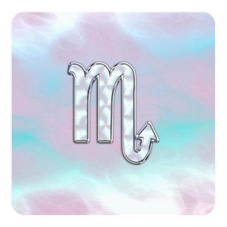 Scorpio Zodiac Symbol in Mother of Pearl Style Card