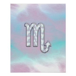 Scorpio Zodiac Symbol in Mother of Pearl Style Poster