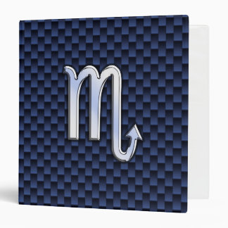 Scorpio Zodiac Symbol Navy Blue Carbon Fiber Style Binder