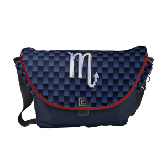 Scorpio Zodiac Symbol Navy Blue Carbon Fiber Style Messenger Bag